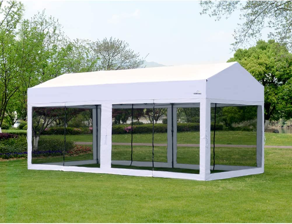 OUTDOOR LIVING SUNTIME 10 X 20 Easy Pop Up Canopy Party Tent Heavy Duty Garage Car Shelter, White-with Removable Sidewalls