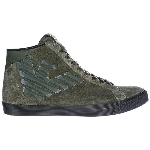 Emporio Armani EA7 Scarpe Sneakers Alte Uomo in camoscio Nuove Verde EU  43.13 X8Z005XK00700044  Amazon.it  Scarpe e borse c3235dfbfc7