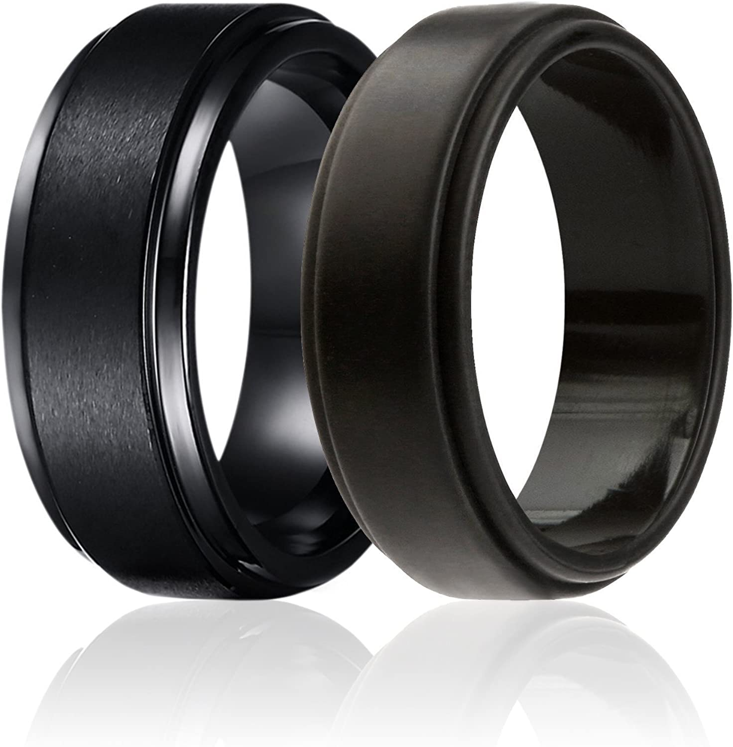 SOLEED Twins - Set of 2-1 Tungsten Wedding Band and 1 Silicone Rubber Wedding Ring for Men, Classic Style
