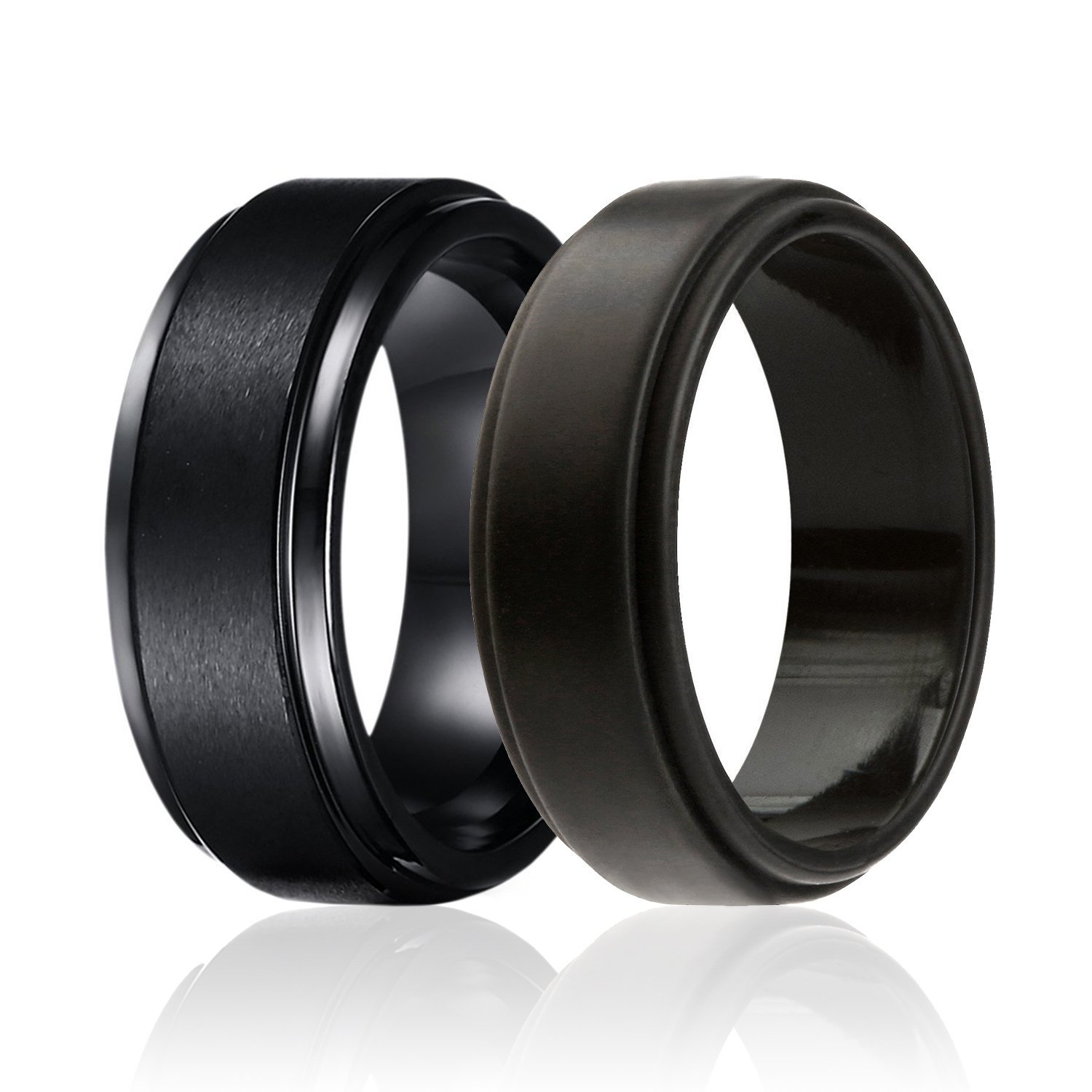 SOLEED Twins - Set of 2-1 Black Tungsten Wedding Band, Brushed Top, Step Edge 1 Black Silicone Rubber Wedding Ring Men, 8mm, Size 14