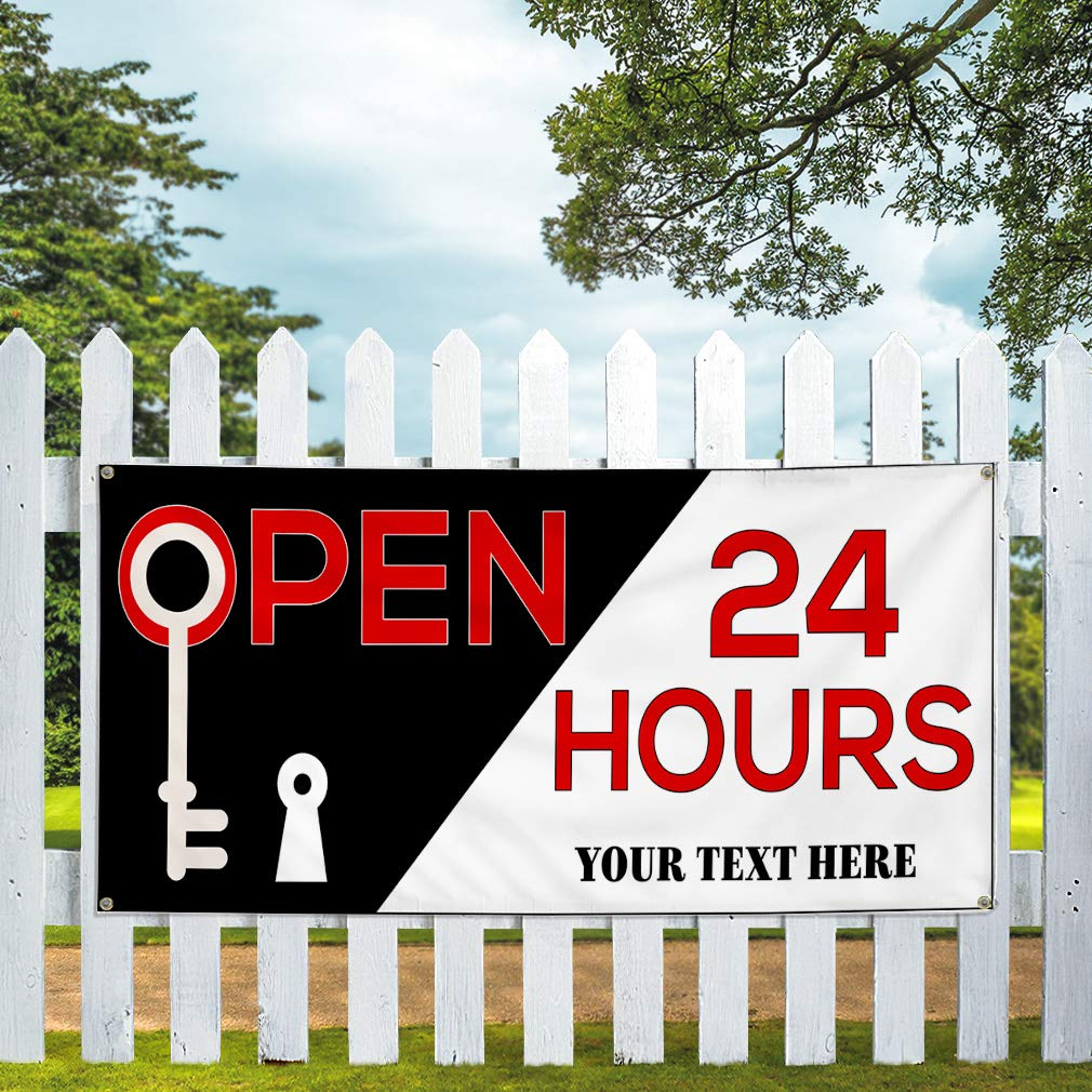 Custom Industrial Vinyl Banner Open 24 Hours Personalized Text Business Red 4 Grommets 24x48Inches