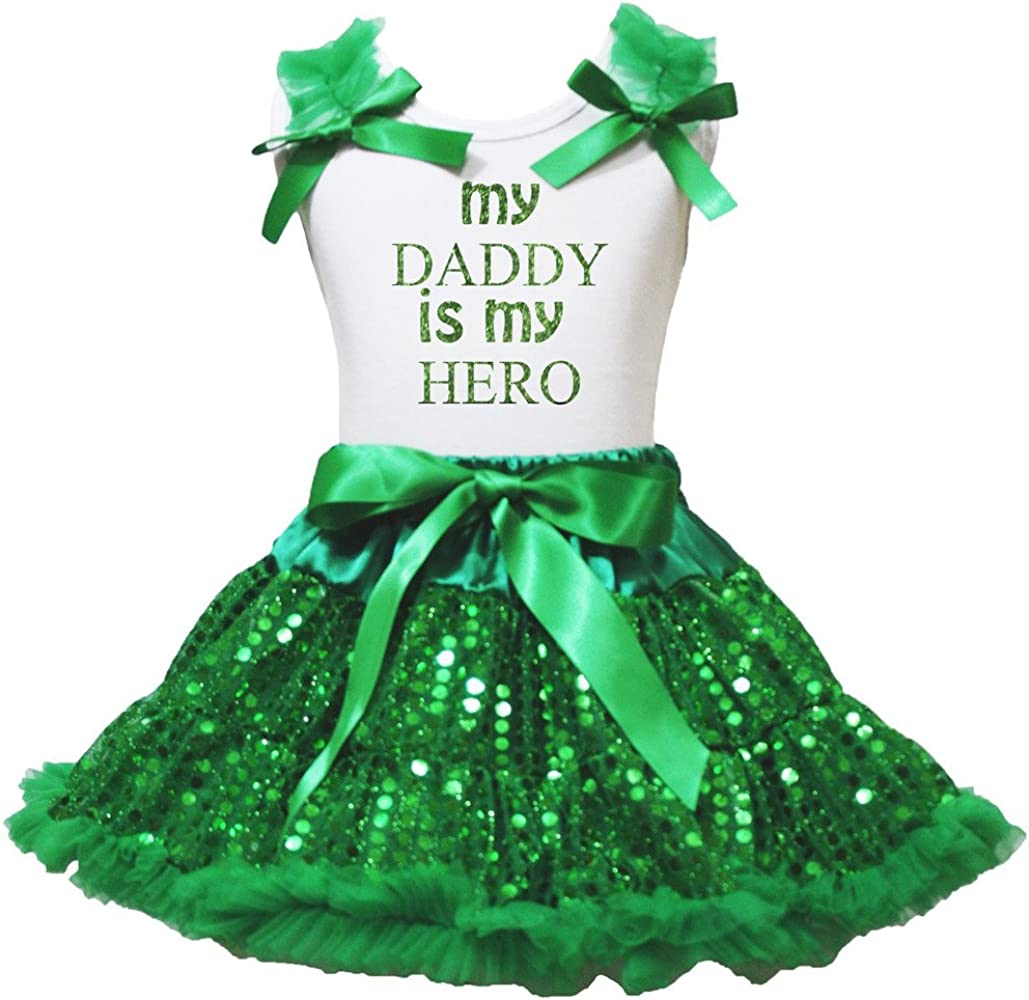 Bling Daddy is My Hero Camiseta Vestido Verde lentejuelas falda ...