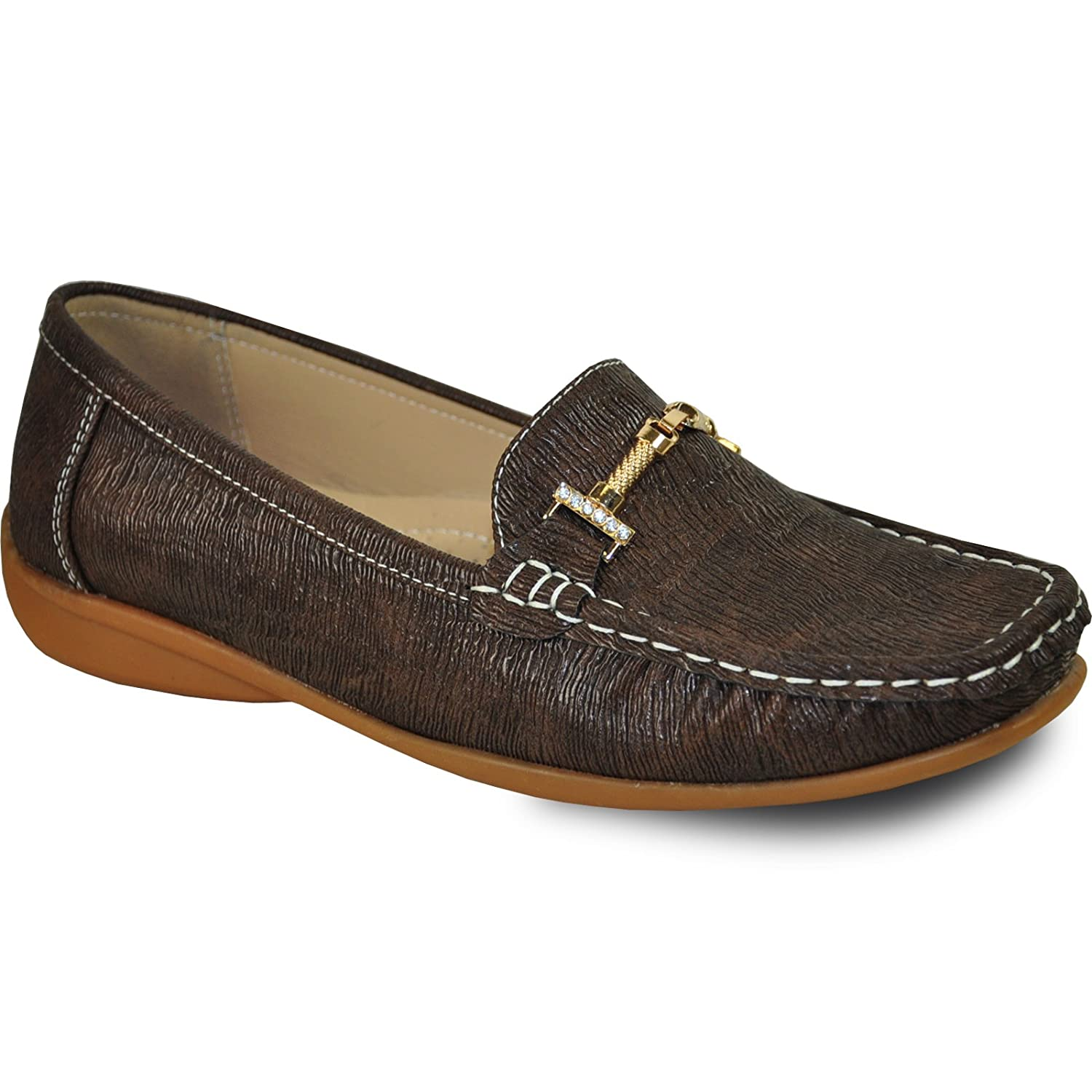KOZI Women Comfort Shoe OY6284_BROWN with a Round Square Toe