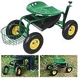 Yaheetech Green Heavy Duty Garden Cart Rolling Work Seat w/Tool Tray Gardening Planting Yard