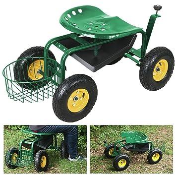 Captivating Yaheetech Green Heavy Duty Garden Cart Rolling Work Seat W/ Tool Tray  Gardening Planting Yard