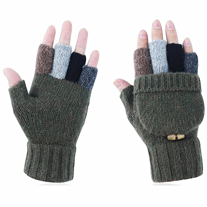 67225006dbc89 Kay Boya Winter Knit Wool Gloves Thicken Warm Gloves Fold Back Gloves for  Men & Women