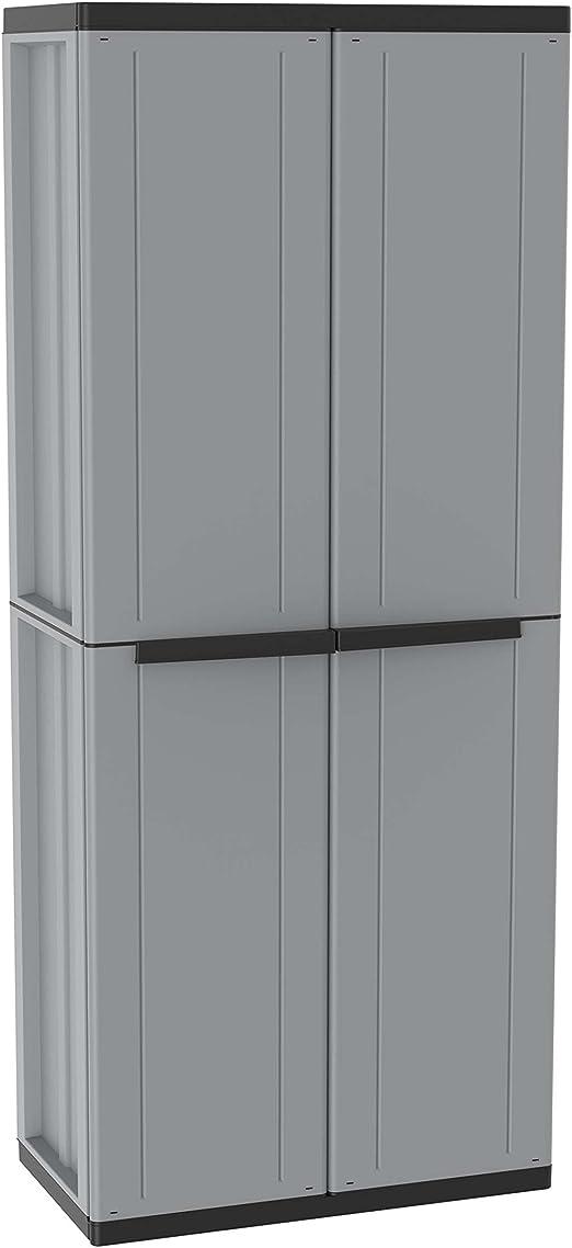 Terry Jline 368 Armario 2 Puertas con una estanteria Interna con 4 fijos. Capacidad máxima del Estante: 10 kg distribuidos de Forma Uniforme, Gris/Negro, 68x37,5x163,5 cm: Amazon.es: Bricolaje y herramientas