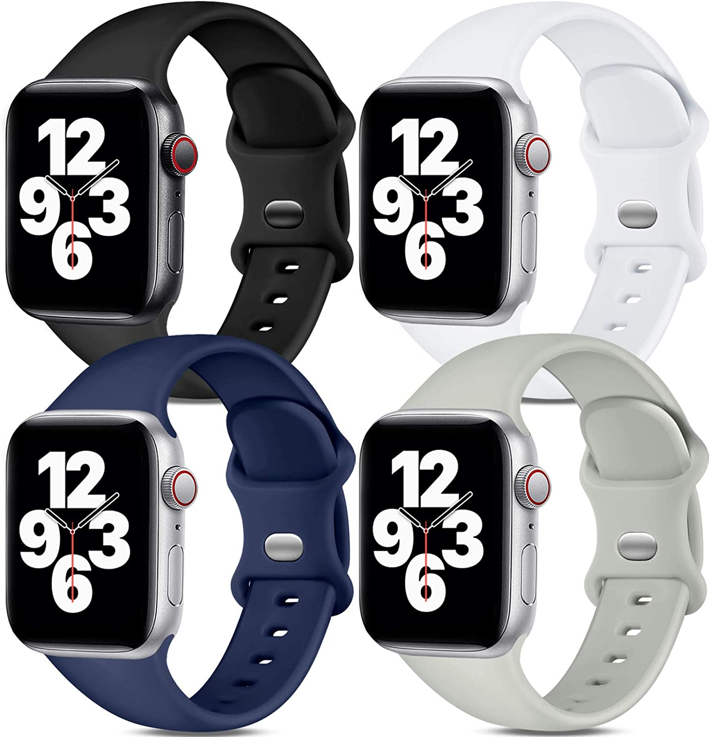Dirrelo Band Compatible with Apple Watch Bands 42mm 44mm, [4-Pack] Soft Silicone Strap Wristbands for iWatch Series 3 5 6 4 2 1 SE Women Men, Small Black, White, Dark Blue, Gray