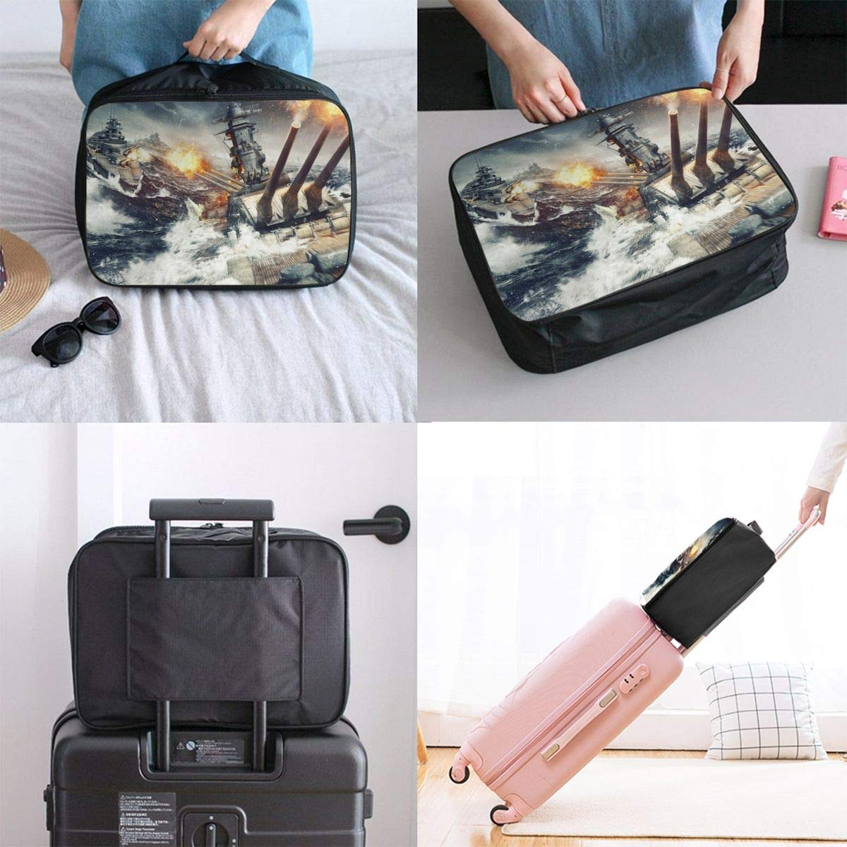Travel Luggage Duffle Bag Lightweight Portable Handbag Ship Pattern Large Capacity Waterproof Foldable Storage Tote