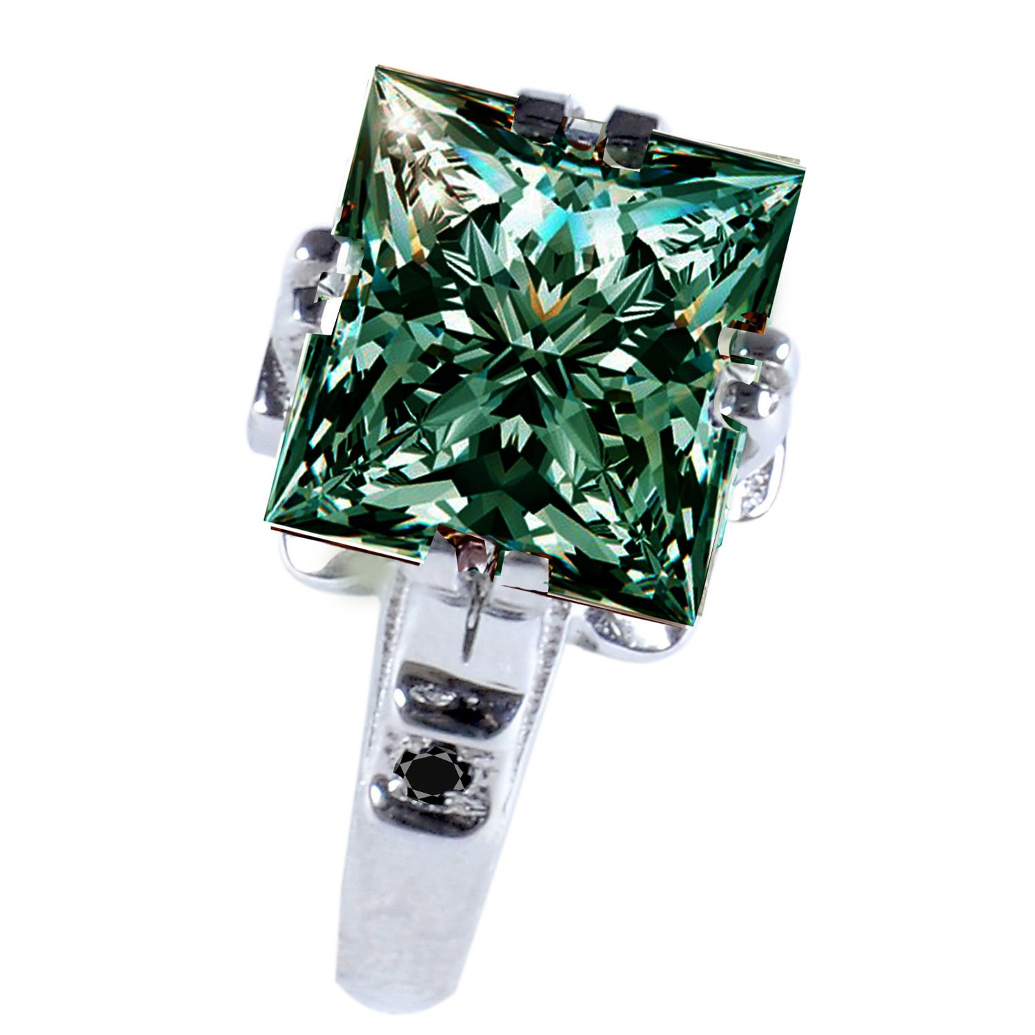 RINGJEWEL 5.12 ct VVS1 Princess Moissanite Solitaire Engagement Silver Plated Ring Green Color Size 7