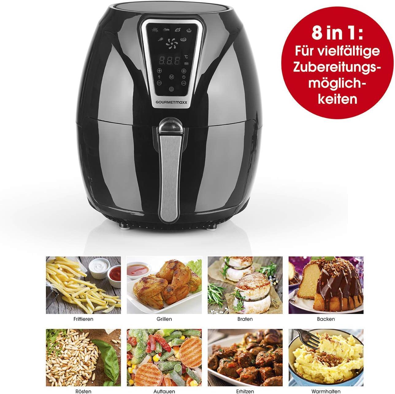 Gourmetmaxx digitale 1300 W 3 l nero Friggitrice ad aria calda con timer