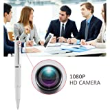 Mini Camera,Real Full HD 1080P Nanny Hidden Spy Pen Cam Home Convert Security Camera Roller Ball -White