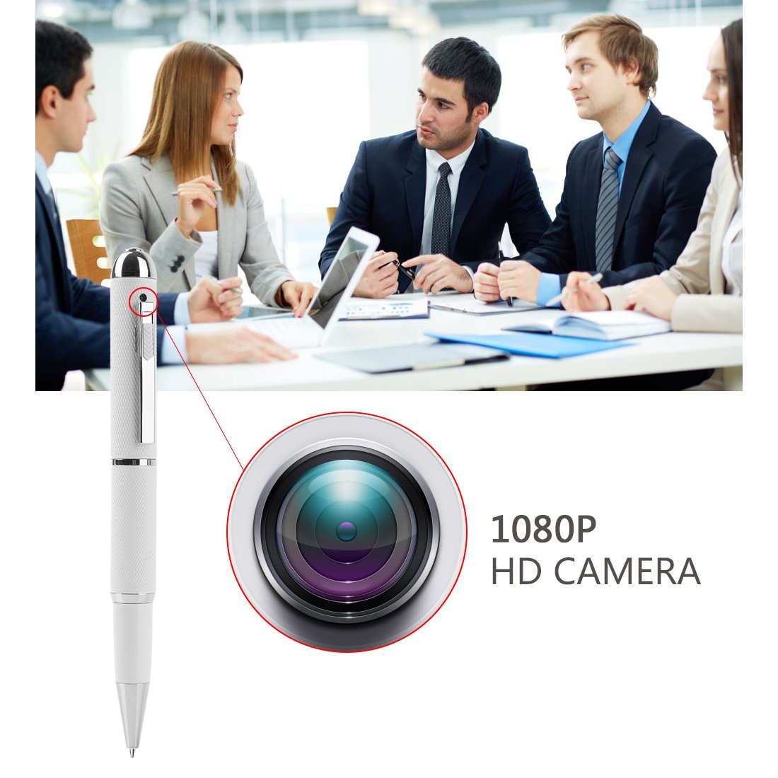 Mini Camera,Real Full HD 1080P Nanny Hidden Spy Pen Cam Home Convert Security Camera Roller Ball -White by GIZGA