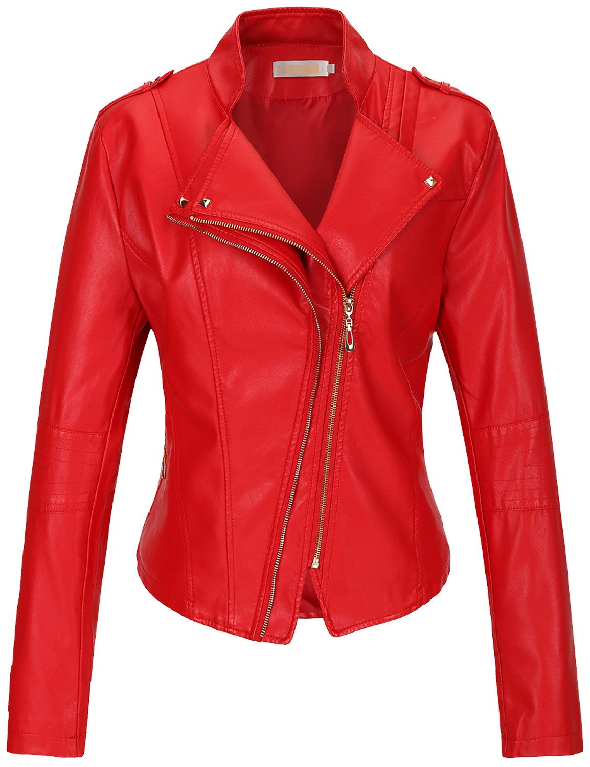 Tanming Women's Slim Zipper Color Faux Leather Jacket Red (Large, Red)