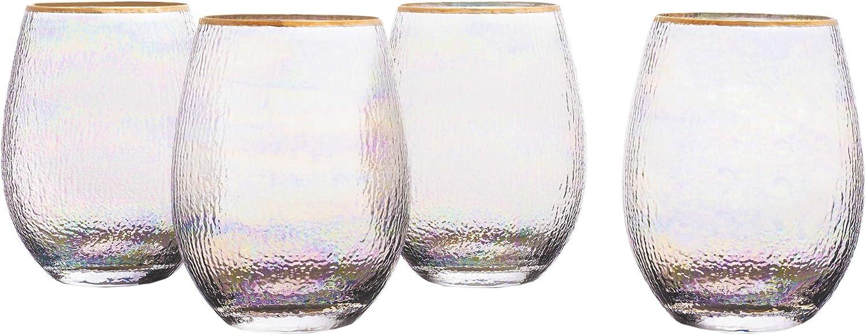 Elle Décor Celine Set of 4 Lead-free Stemless Wine Goblets Glasses, 3.7x4.9, Gold