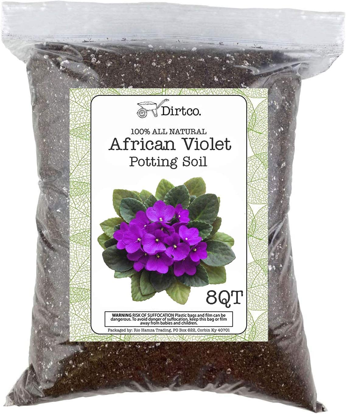 African Violet Potting Mixture, All Natural, No Fertilizer Added, Two Gallon Re-Sealable Bag, Hand Blended in Small Batches - 8QT