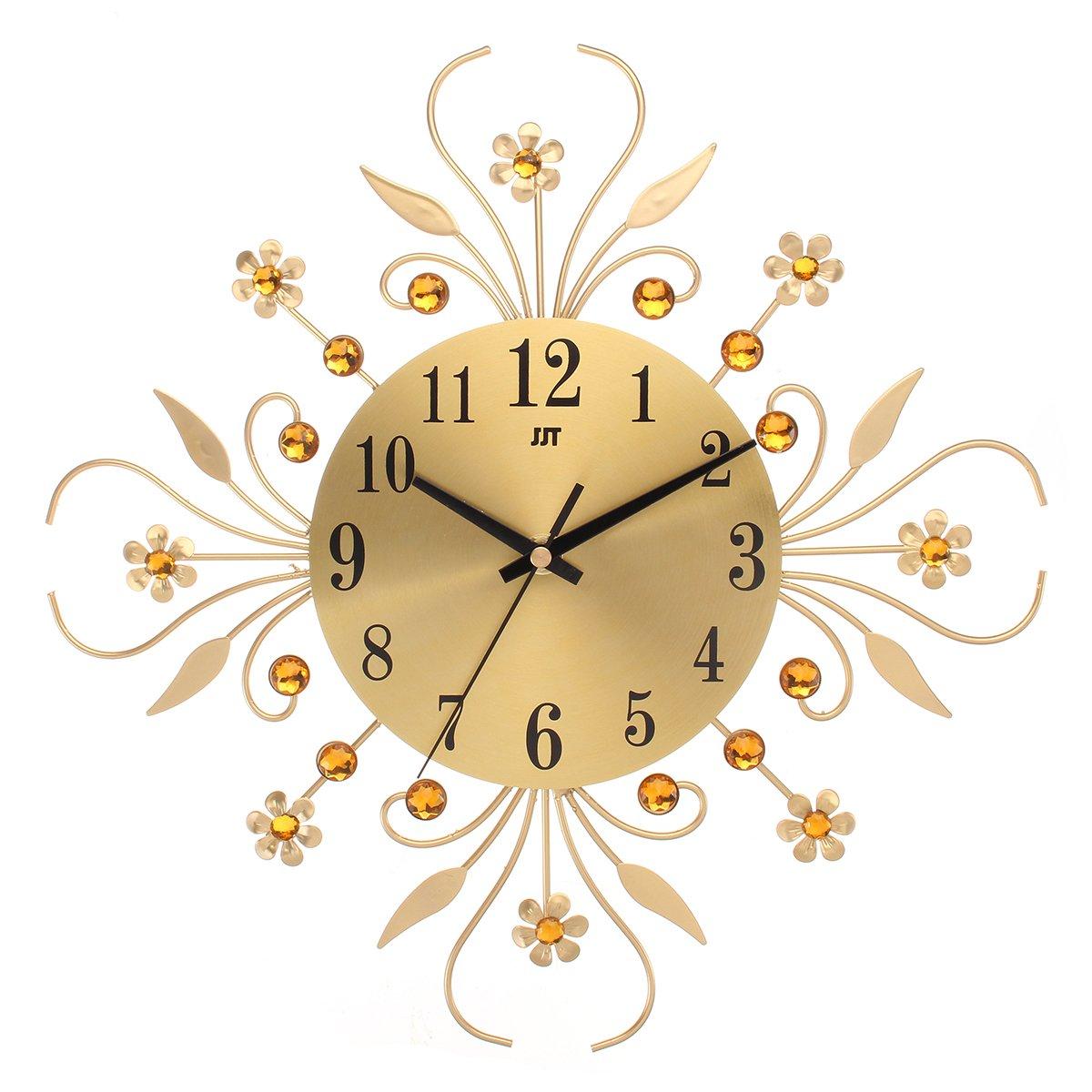 Jeteven Horloge Pendule Murale en Métal avec Diamant Acrylique Horloge Fleur Créative Design Artistique Vintage pour Salon Chambre 35cm Or