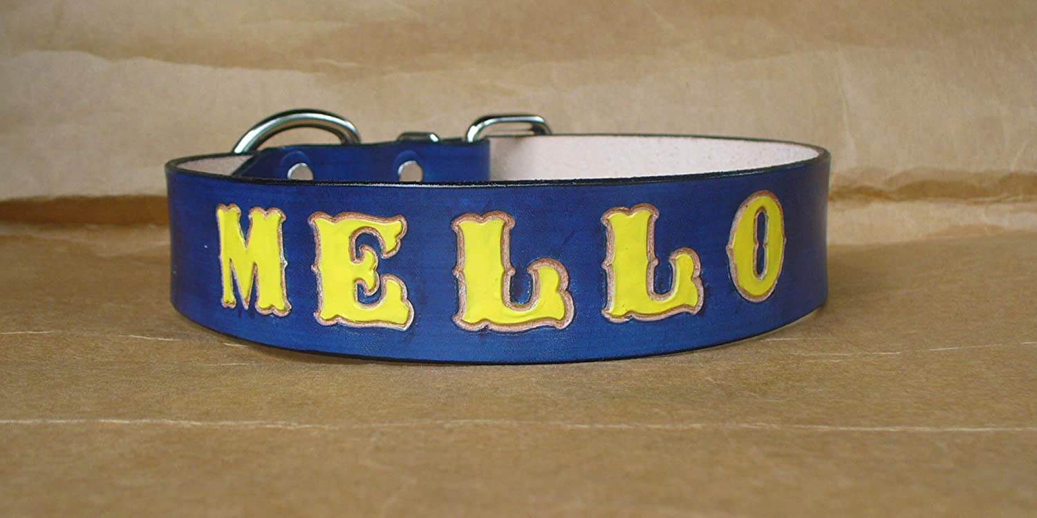 Blue Dog Collar Personalized Personalized Leather Dog Collar Made in USA by Pitka Leather Custom Dog Collars 1.5 Inch