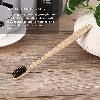 Cepillo de dientes de bambú, cerdas de carbón vegetal para el cuidado del hogar