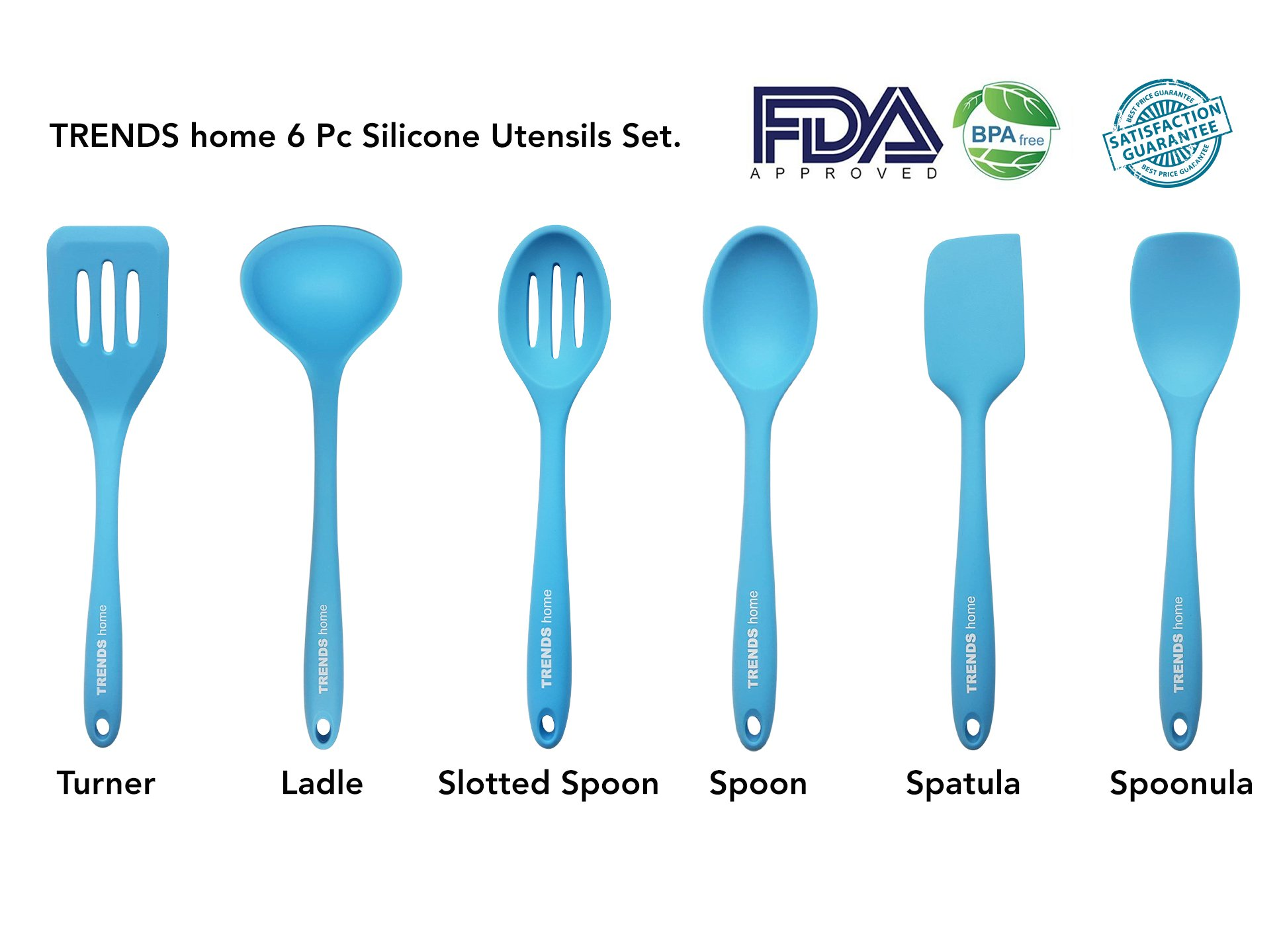 Genuine TRENDS home Premium Quality 6 Pc Heat Resistant, Non Stick Silicone Kitchen Utensils. Cooking Utensils including Spatula, Spoon, Turner, Ladle, Slotted Spoon, Spoonula