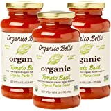 Organico Bello Gourmet Organic Pasta Sauce, Tomato Basil,24 ounce, 3 Count