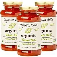 Organico Bello | Organic Gourmet Pasta Sauce | Tomato Basil | Non-GMO | Whole30