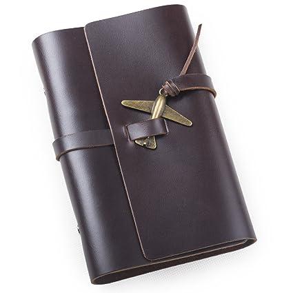 Cuero genuino Ancicraft pequeño cuaderno con Retro Diario ...