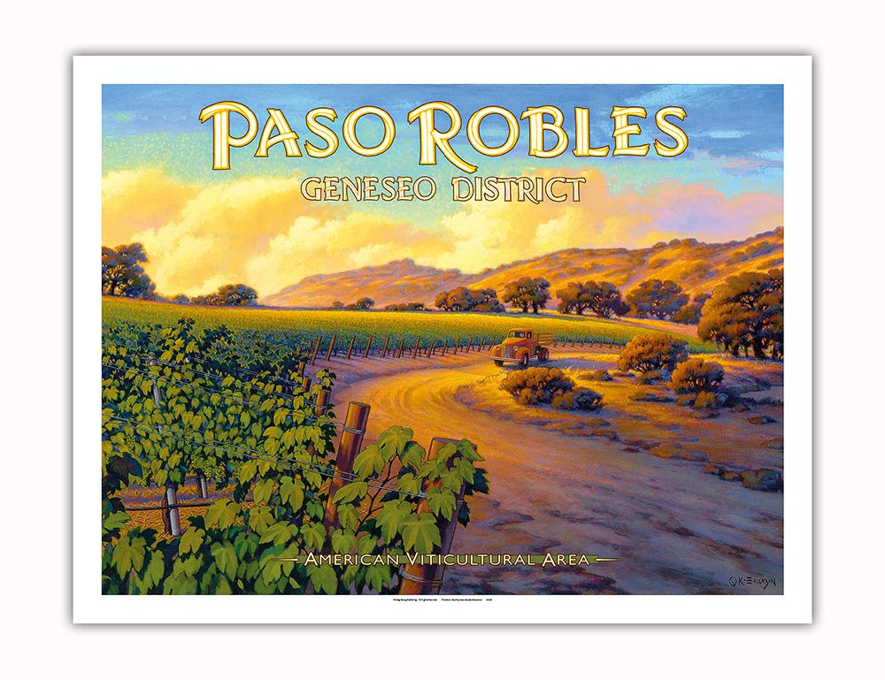 Pacifica Island Art - Paso Robles - Geneseo District - Central Coast AVA Vineyards - California Wine Country Art by Kerne Erickson - Fine Art Print - 20in x 26in