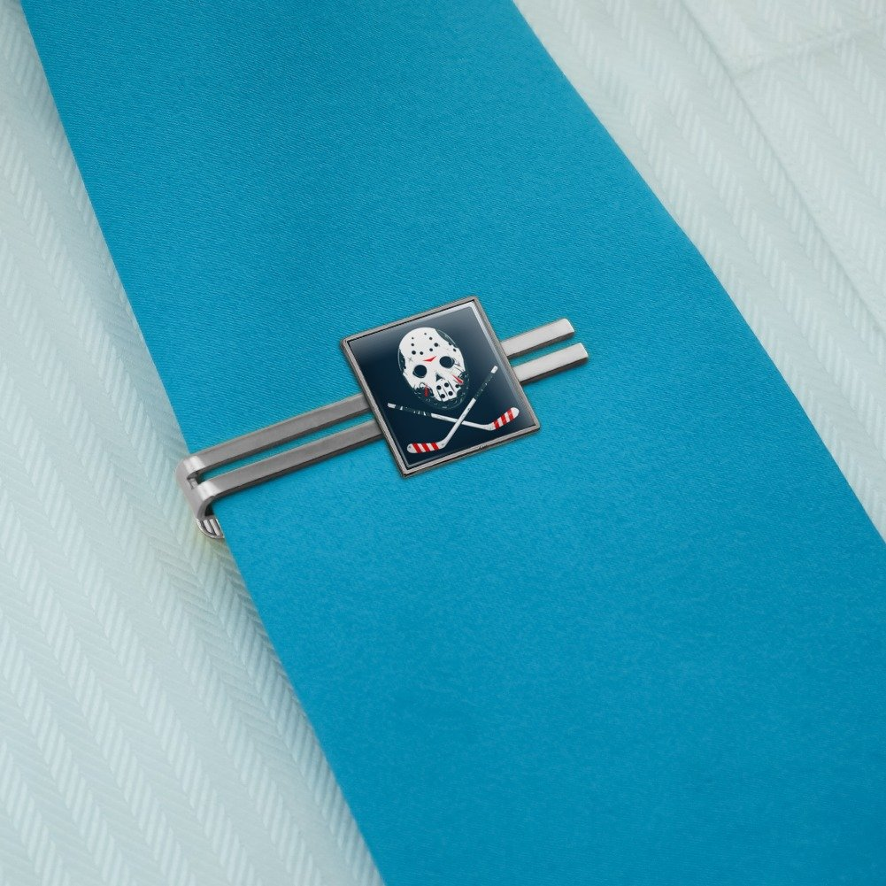 Graphics and More Hockey Mask Skull Crossbones Stick Square Tie Bar Clip Clasp Tack Silver or Gold