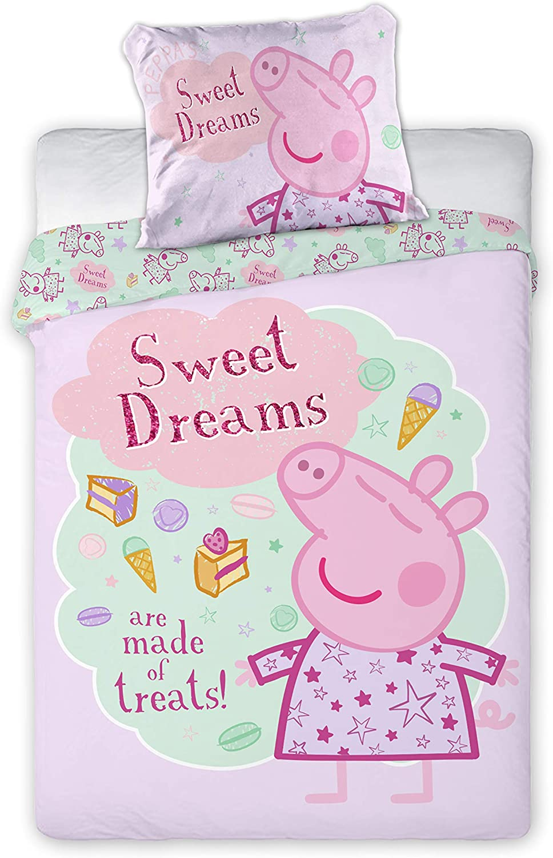 Disney III - Juego de cama infantil (2 piezas, 100% algodón, 40 x 60 cm y 100 x 135 cm, con cremallera) rosa Peppa Pig rosa Talla:tamaño: 100 x 135 cm + 40 x 60 cm