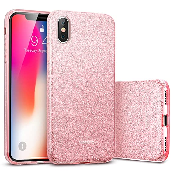 brand new a471e ab083 ESR Makeup Glitter Case for iPhone X/iPhone 10, Glitter Sparkle Bling Cover  [Three Layer] for iPhone 5.8 inch (2017 Release only)(Rosegold)