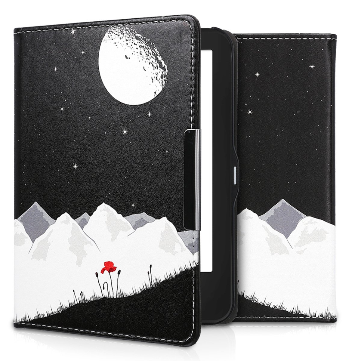 kwmobile Elegant synthetic leather case for the Tolino Vision 1/2/3/4 HD Starry Sky Poppy in white red black