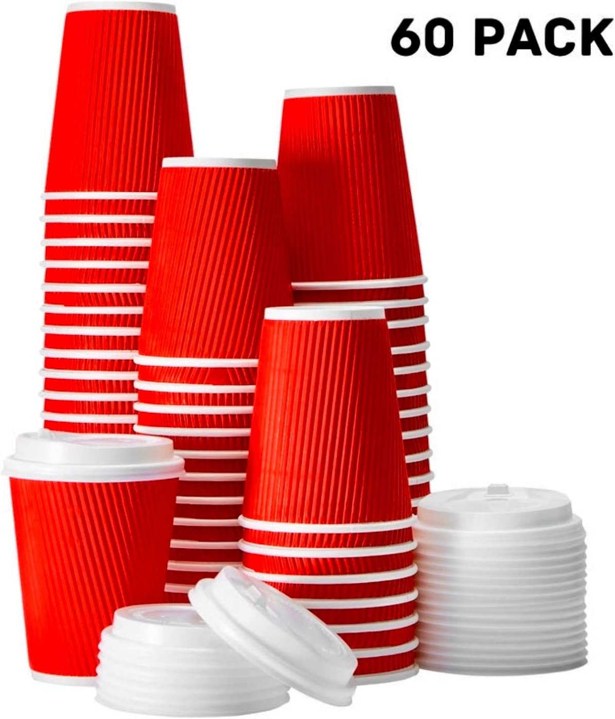 FarSmart Disposable Hot Paper Coffee Cups With Lids To Go 12 Oz