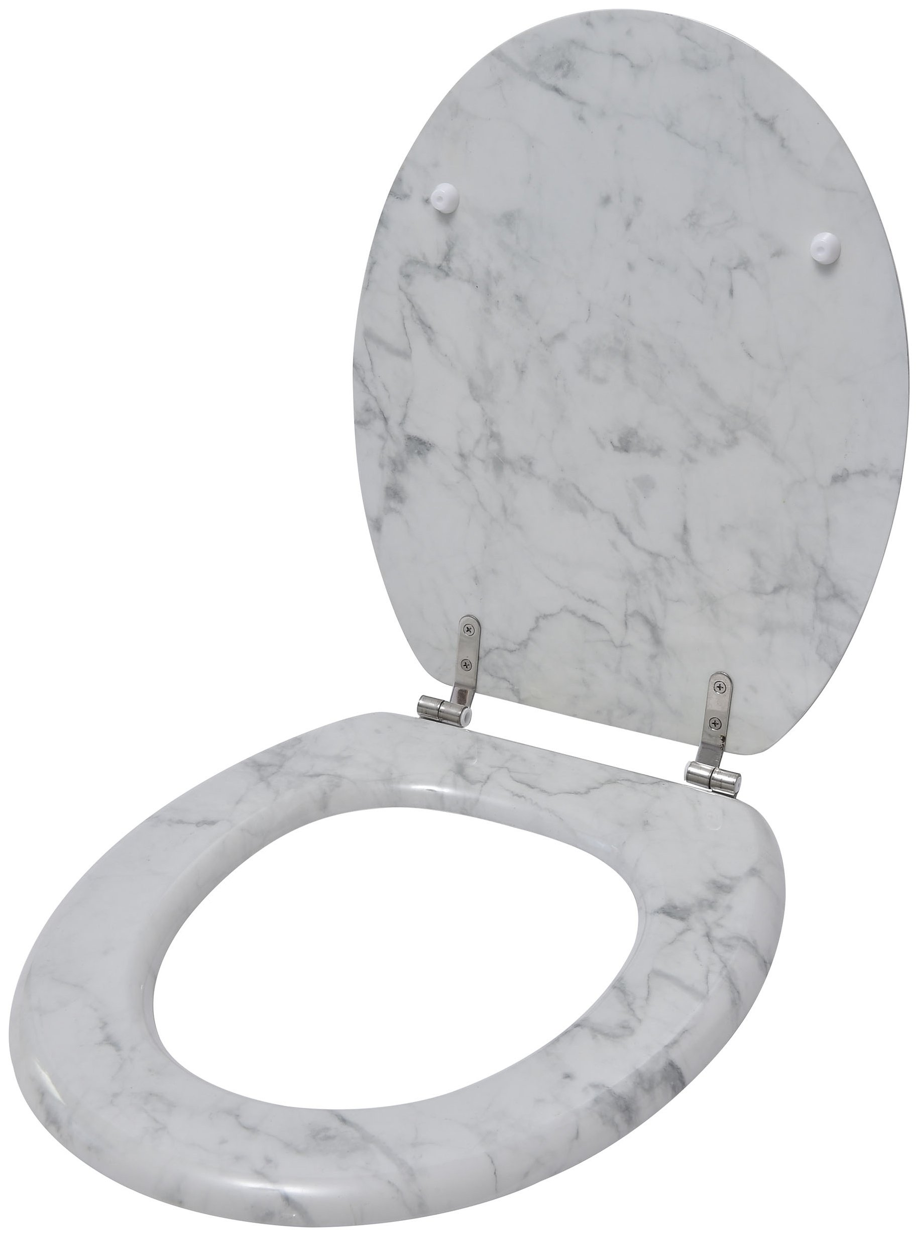 EVIDECO 4109602 Marble Effect Toilet Seat, Ivory