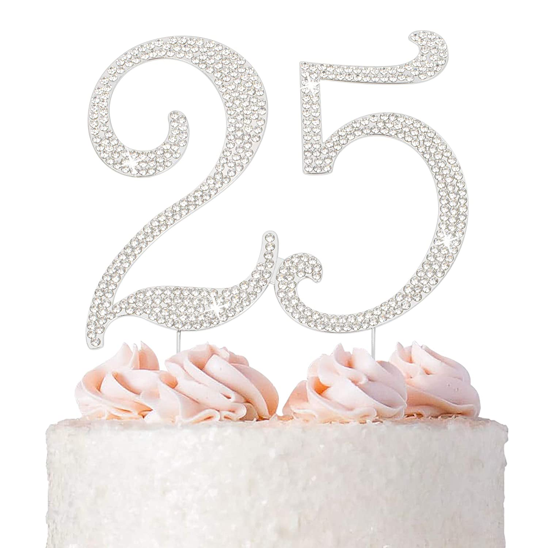 Birthday Rhinestone Cake Toppers Anniversary Silver Wedding Digital Party