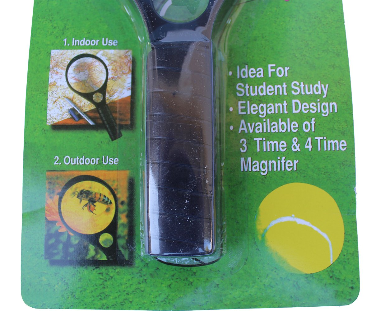 """2 Pack – Jumbo Magnifying Glass Set Size 4"""" – Zooms: x3 and x4 for bugs Exploring and Small Prints"""