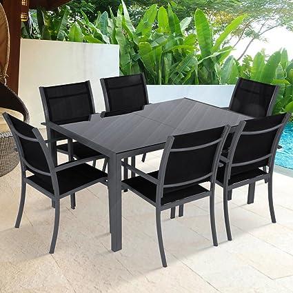Miadomodo – Salon de Jardin 7 pièces avec Table en Verre et 6 chaises en  Aluminium, Couleur Gris