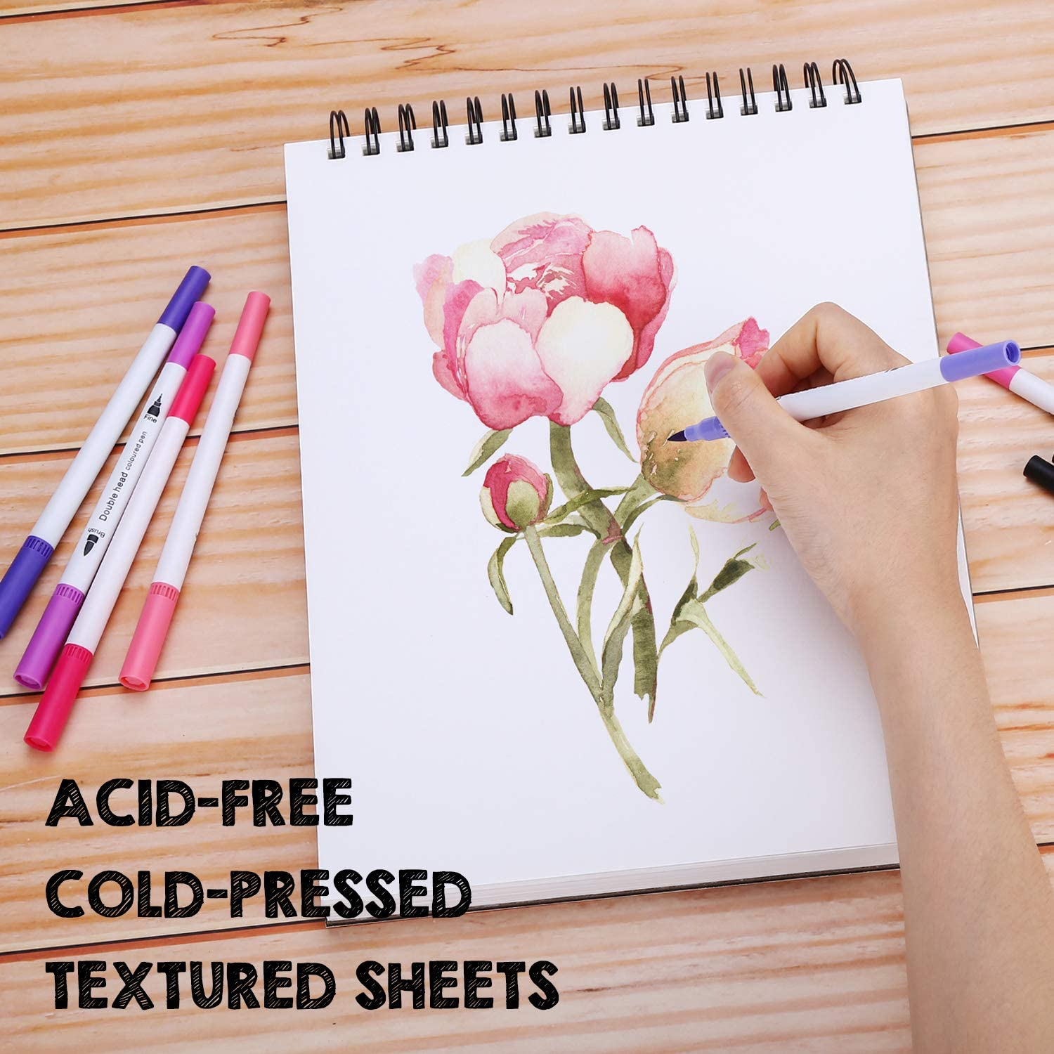 2 Pack AGPTEk Watercolor Paper Pad 2 Packs 9 X 12 inches 140lb//300gsms Acid Free Great for Watercolor Painting and Wet Media Paper Pad 70 Sheets