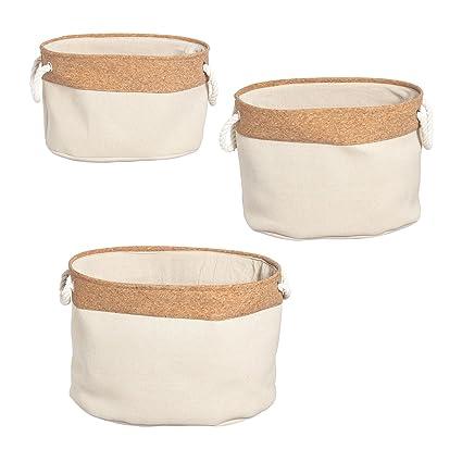 Furniteam - Cajas de almacenaje ovaladas (3 Unidades, Tela, Corcho Natural, 45
