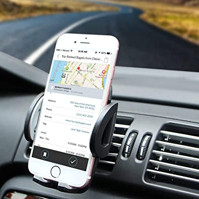 Air Vent Phone Holder, Amoner Car Mount with Quick Release Button Adjustable Clamp for iPhone X/8/8 Plus/7/7 Plus/6s/6s Plus/5s Galaxy S10/S9/S8/S7/S6/S5, LG Motorola and More