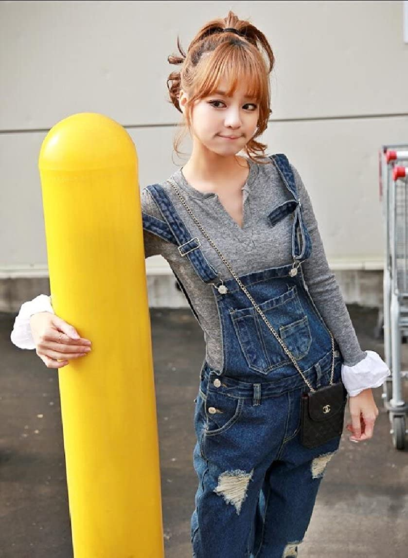ouxiuli Women Stretchy Denim Bib Ribbed Hole Pants Overalls Jumpsuit Romper Distressed Jeans