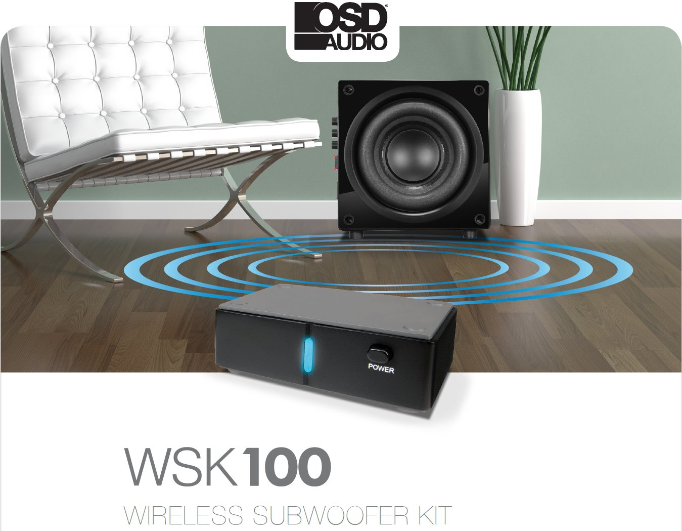 OSD Audio Wireless Subwoofer and Receiver Kit - 34 Channel Transmitter - WSK100 by OSD Audio