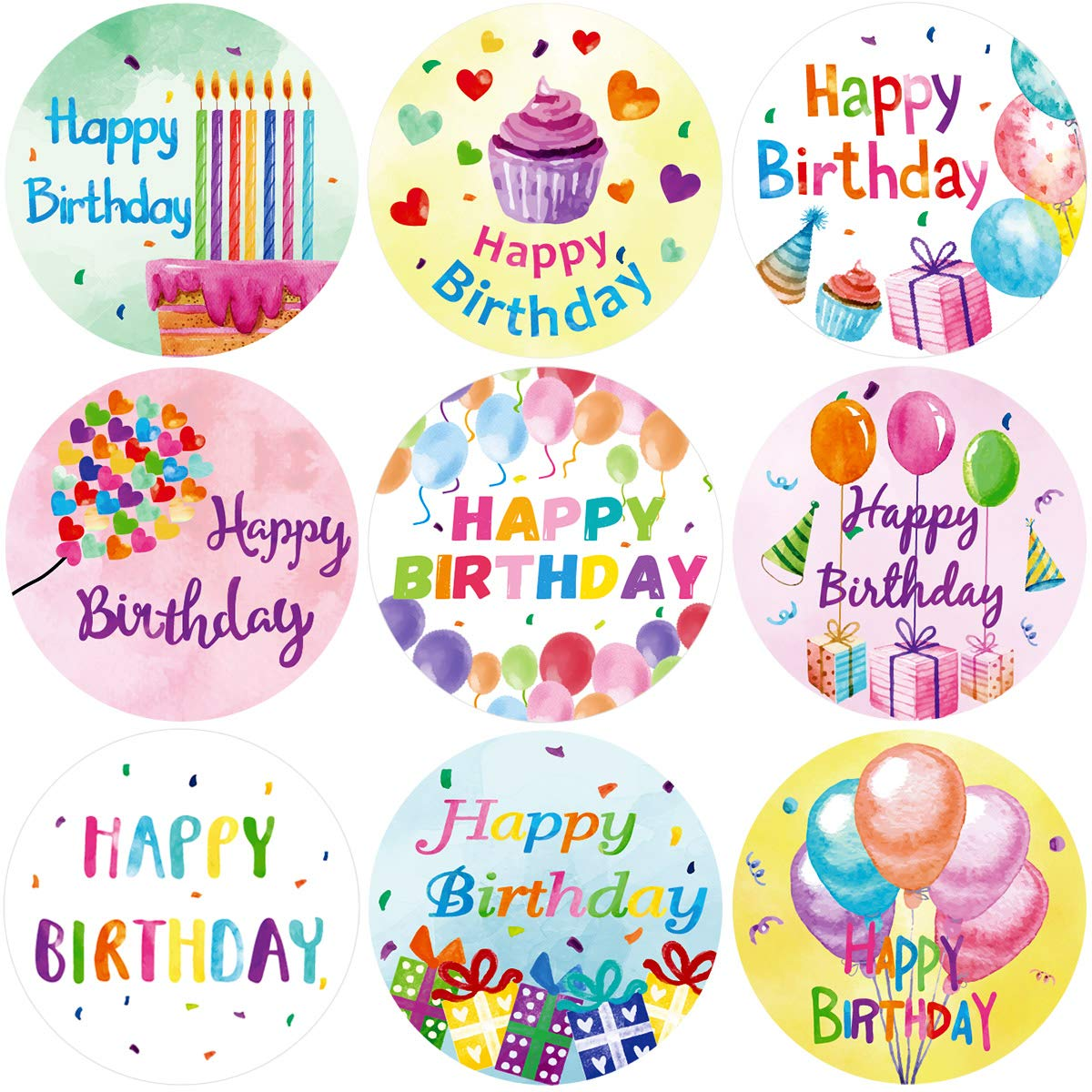 Amazon com fancy land watercolor happy birthday stickers perforated 200pcs per roll for kids party decoration toys games