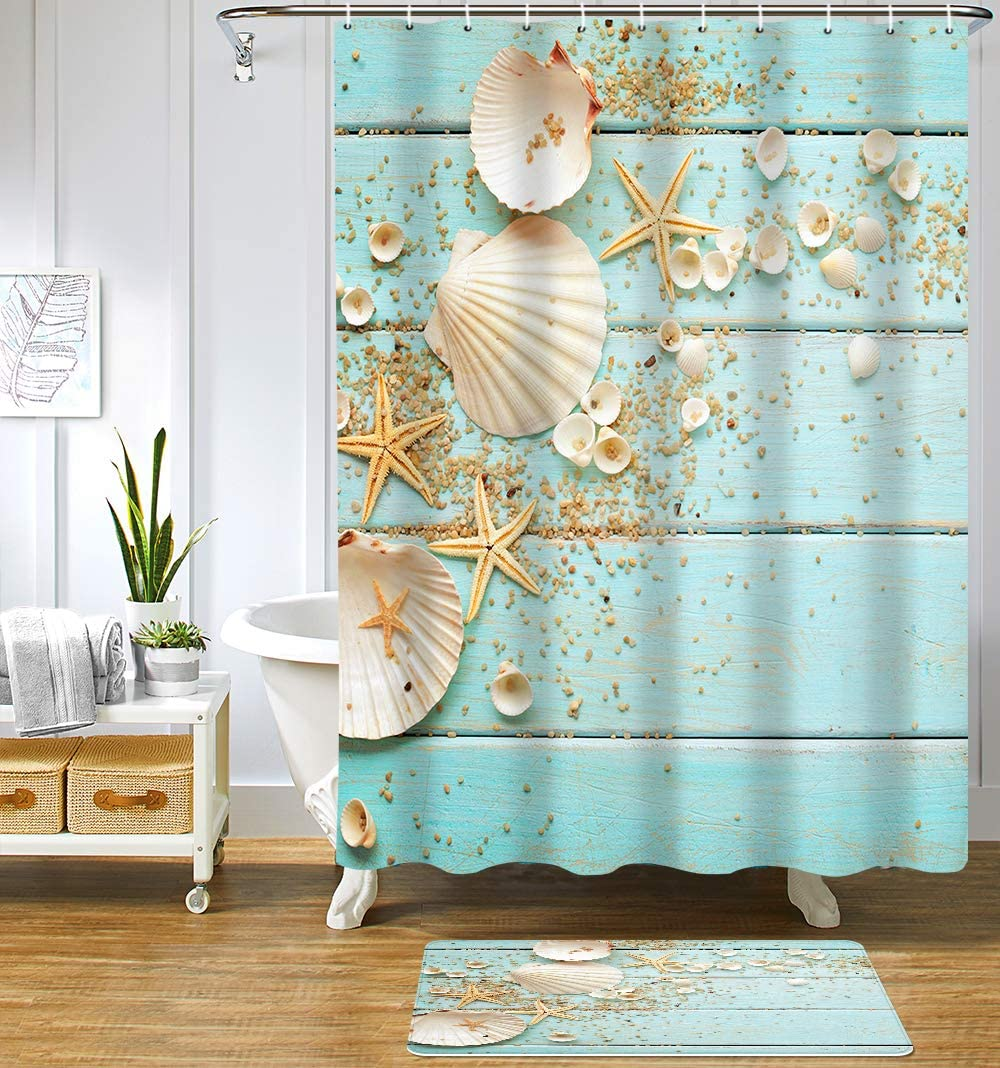 Uphome Beach Fabric Shower Curtain, Aqua Seashell and Starfish on The Coastal Cloth Shower Curtain Heavy Weighted Waterproof, Batower Curtain Heavy Weighted Waterproof, Bathroom Sea Decorations, 72x72