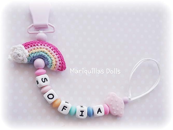 Chupetero Crochet ARCO IRIS Personalizado con letras de ...