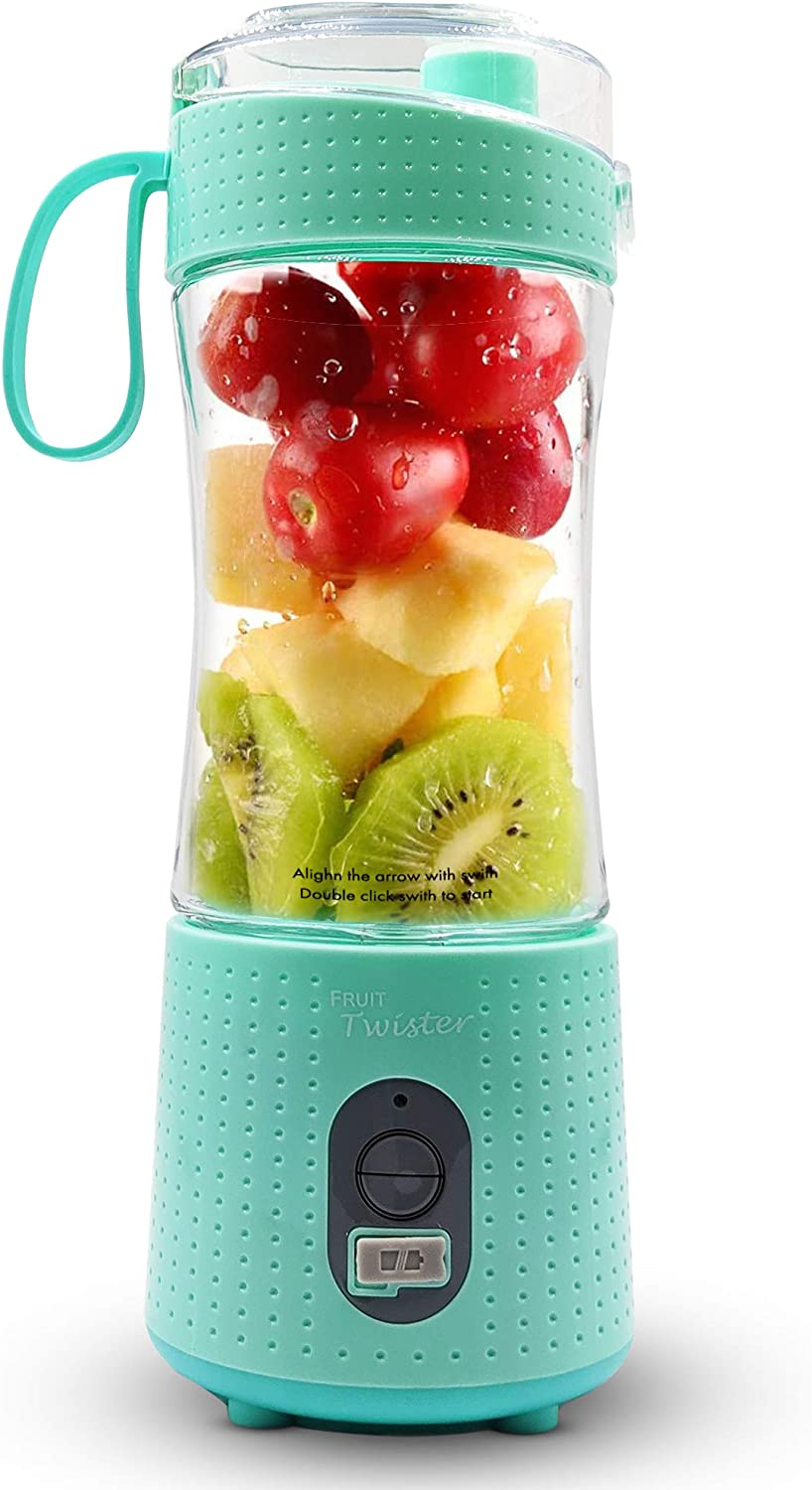 Fruit Twister Portable Blender for Shakes and Smoothies, Personal handheld Mini Travel Size 13 Oz (380ml), Battery Operated and USB Rechargeable Home Office Gym Beach Mint Green