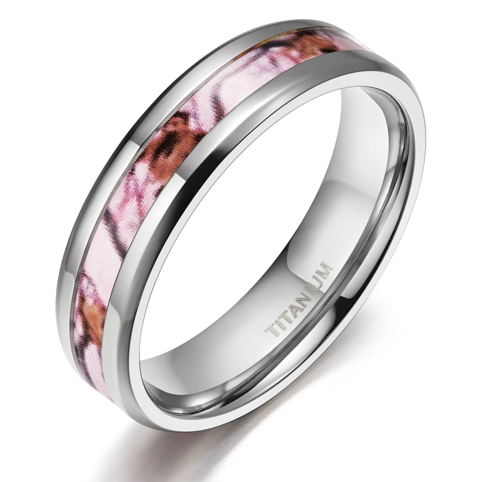 TIGRADE 6 MM Titanium Wedding Rings Band with Deer Antlers Camouflage Inlay in Comfort Fit(7.5)