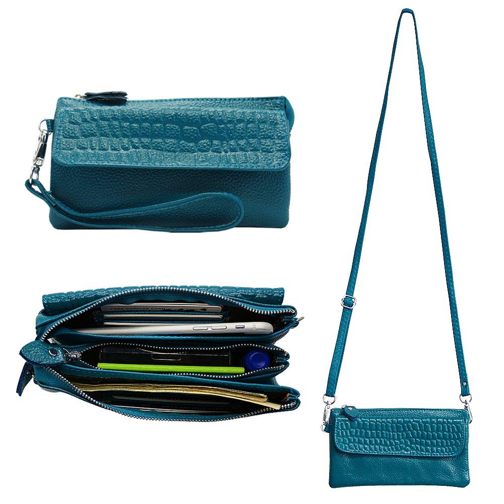 Befen Leather Wristlet Clutch Smartphone Crossbody Wallet with Card Slots/Shoulder Strap/Wrist Strap - Teal
