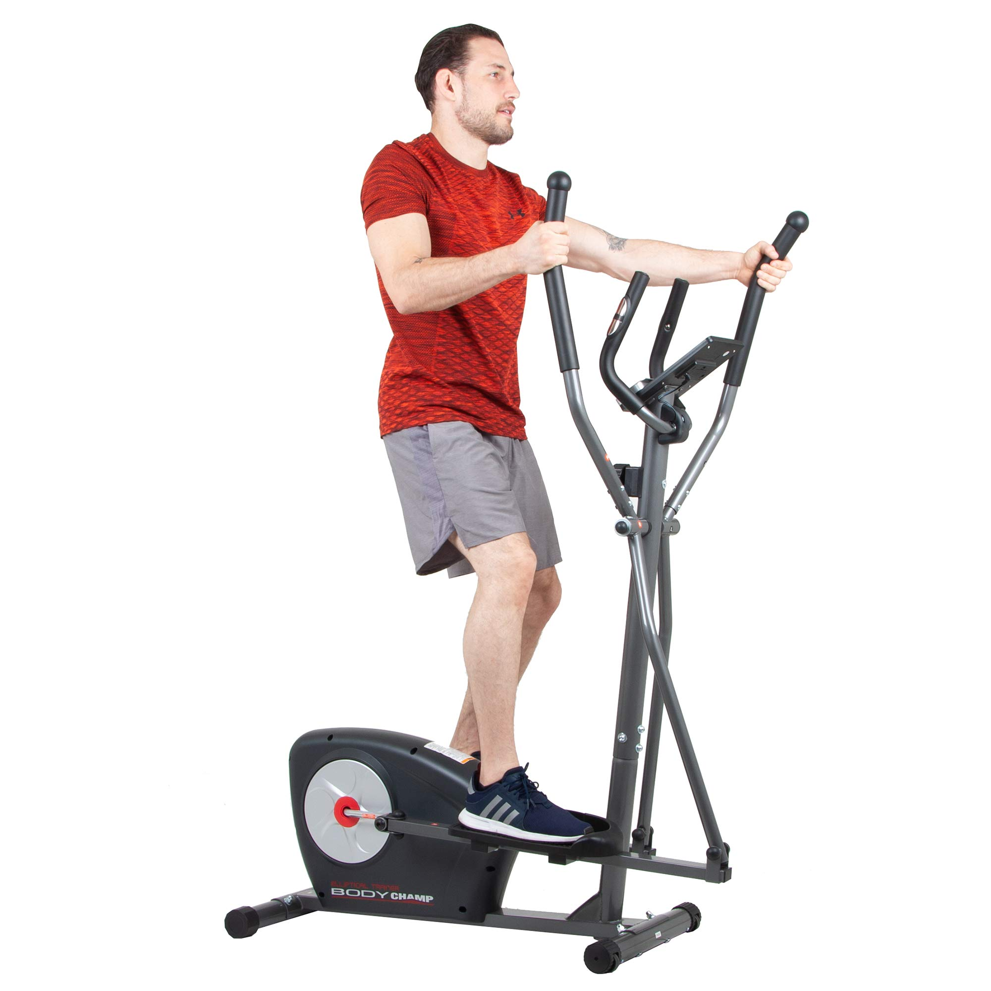 Body Champ New Elliptical Machine Trainer Magnetic Smooth Quiet Driven with LCD Media Holder Monitor and Pulse Rate Grips BR2117 by Body Champ (Image #2)