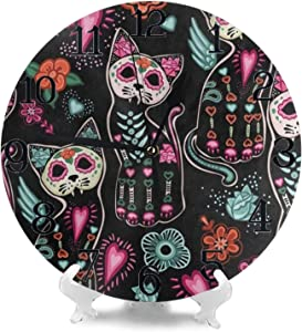 Wall Clock Large Floral Day of The Dead Cat Kitten Sugar Skull Non Ticking Kitchen Bedroom Bathroom Wall Clocks Battery Operated Silent Outdoor Desk Cute Clock Living Room Decor for Kids Womens